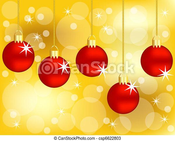 gouden, set, achtergrond, versieringen, hangend, kerstmis, rood - csp6622803
