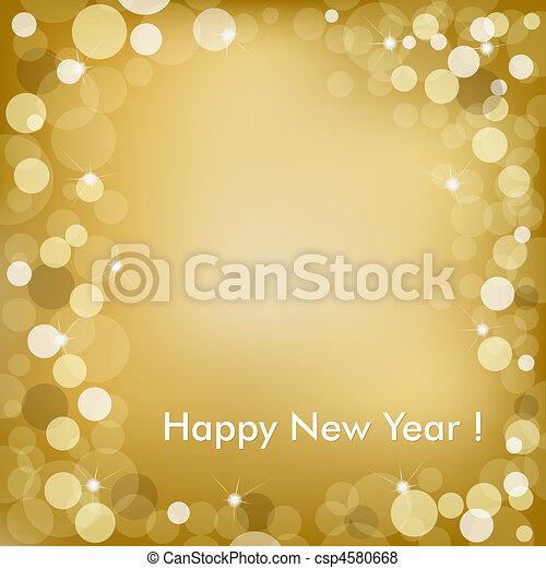 gouden, vector, achtergrond, jaar, nieuw, vrolijke  - csp4580668