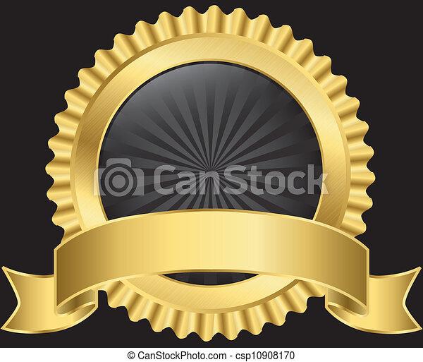 gouden, vector, etiket, lint - csp10908170