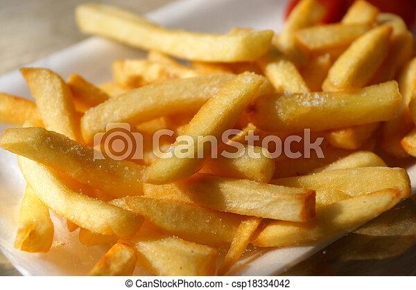 gouden, zijn, aardappels, bakken, franse , eten, gereed.