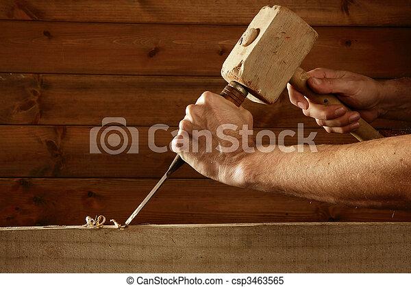 gouge, herramienta, cincel, carpintero, mano, madera, martillo - csp3463565