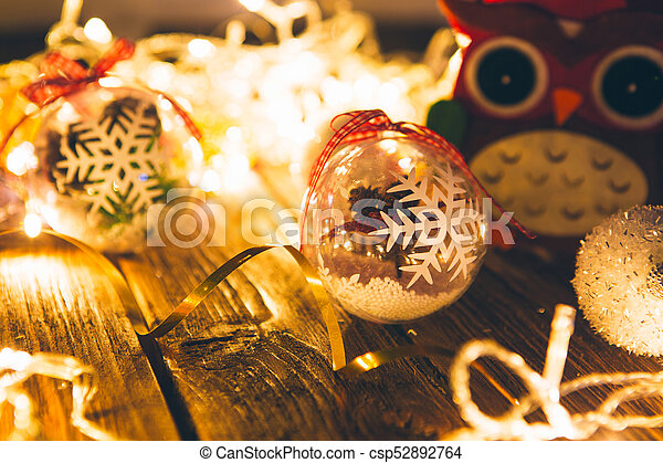 Goup Of Colorful Christmas Baubles On Wooden Table Christmas