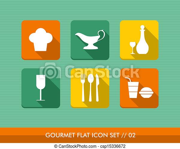 Gourmet flat icons set. - csp15336672