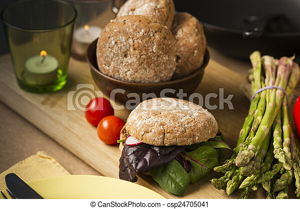 Gourmet Healthy Food with Bread and Veggies - csp24705041