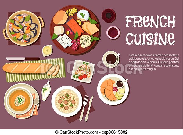 Gourmet lunch of french cuisine flat icon. French cheese ...