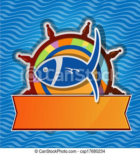 gouvernail, menu, fish, restaurant - csp17680234