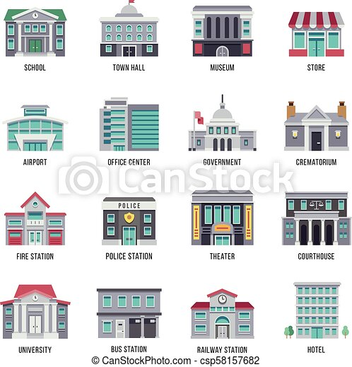 Government Buildings Vector Flat Icons Set City Buildings