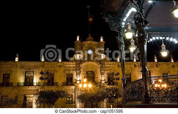 Government Palace Guadalajara Mexico at Night - csp1051595