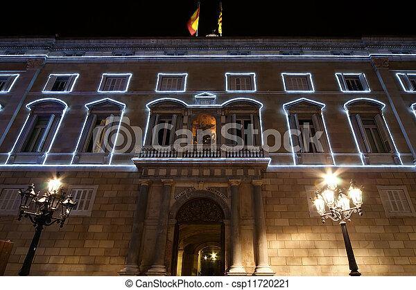 government Palace (Palau de la Generalitat) at night, Barcelona, Catalonia, Spain - csp11720221