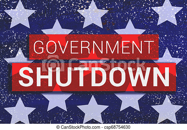 Government Shutdown Text With stars of Us Flag on blue background - csp68754630