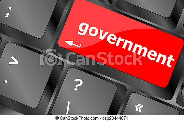 government word on keyboard key, notebook computer button - csp20444671