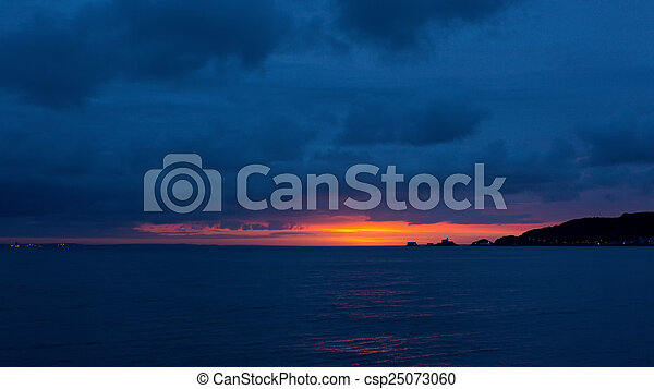 Gower sunrise over Mumbles - csp25073060