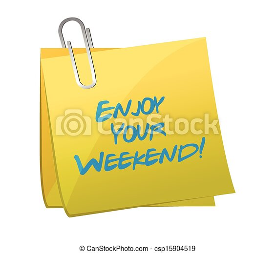 Disfruta tu puesto de fin de semana. Diseño de ilustración - csp15904519