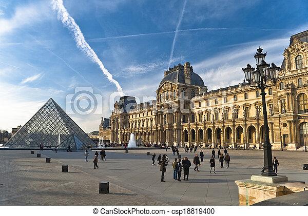 gozar, marzo, louvre, parís, -, tiempo, ma, turistas, 20. - csp18819400