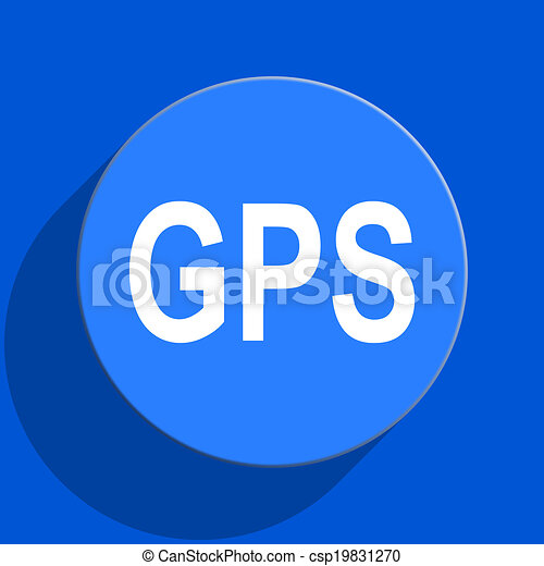 gps blue web flat icon - csp19831270