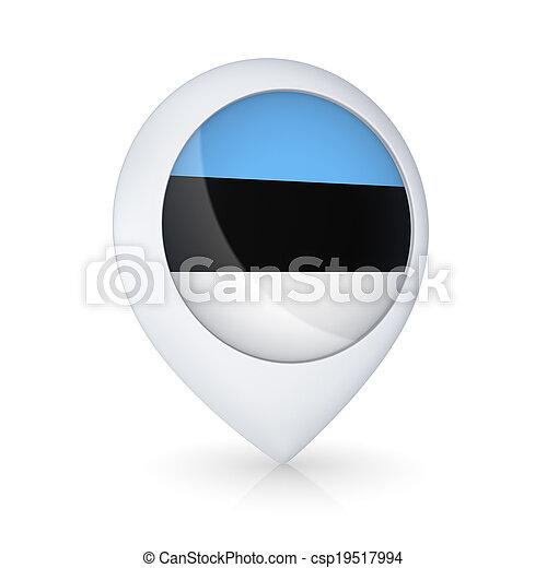 GPS icon with flag of Estonia. - csp19517994
