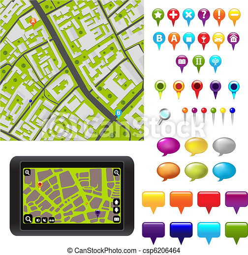 GPS Icons And Map - csp6206464