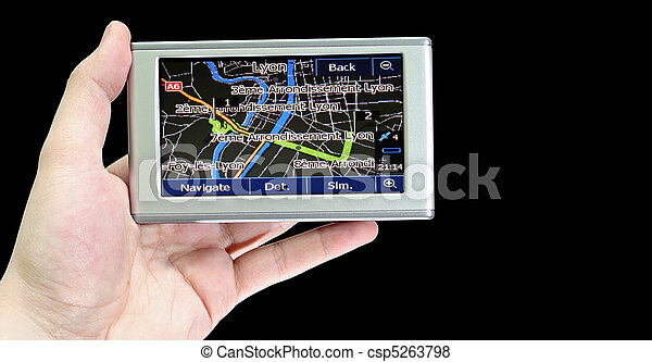 Gps in a man hand. - csp5263798