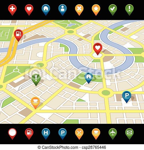 GPS like imaginary city MAP - csp28765446