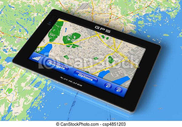 GPS navigator on map - csp4851203