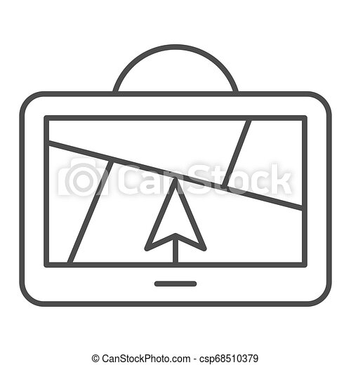 GPS navigator thin line icon. Satellite gps vector illustration isolated on white. Map outline style design, designed for web and app. Eps 10. - csp68510379