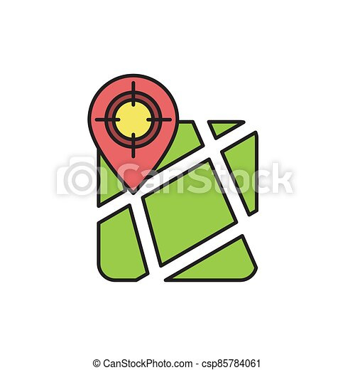 GPS with target location vector icon symbol isolated on white background - csp85784061