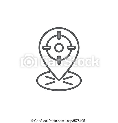 GPS with target location vector icon symbol isolated on white background - csp85784051