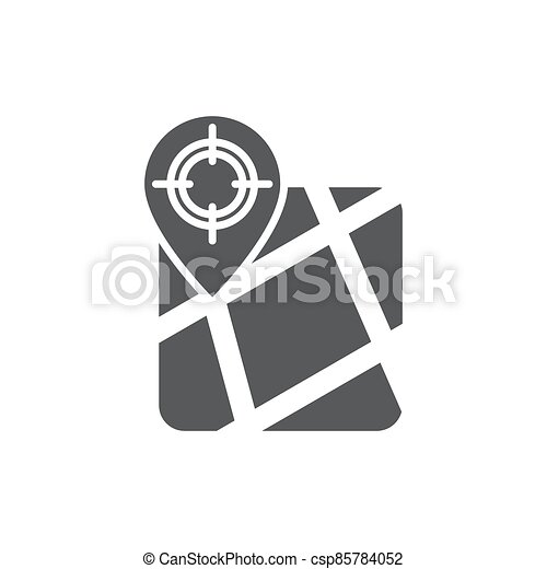 GPS with target location vector icon symbol isolated on white background - csp85784052