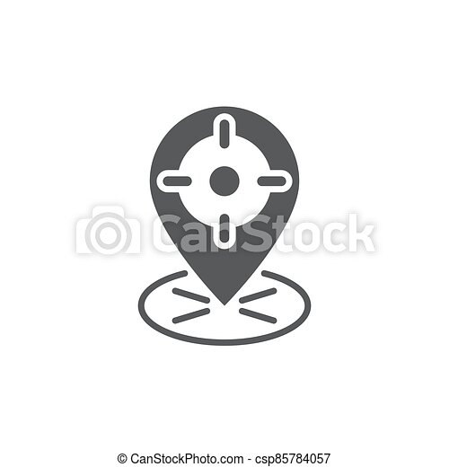 GPS with target location vector icon symbol isolated on white background - csp85784057