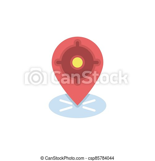 GPS with target location vector icon symbol isolated on white background - csp85784044