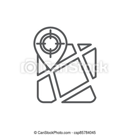 GPS with target location vector icon symbol isolated on white background - csp85784045
