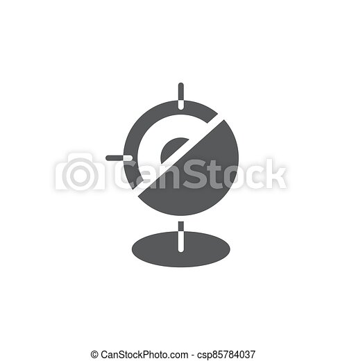 GPS with target location vector icon symbol isolated on white background - csp85784037