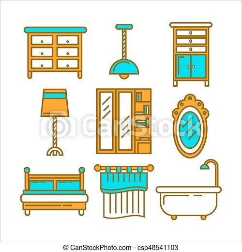 Gráfico, aislado, pedazos, diseño determinado, blanco, muebles ...