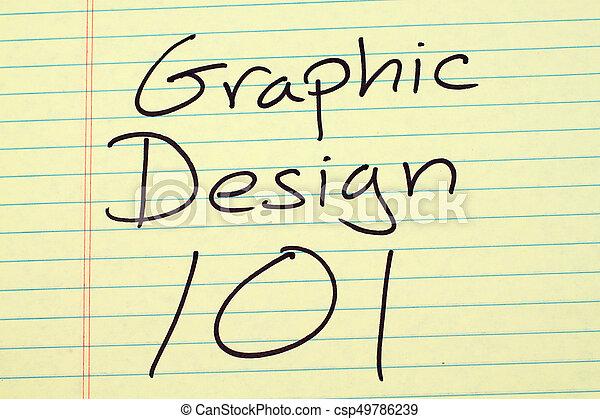 Diseño gráfico 101 en una libreta legal amarilla - csp49786239