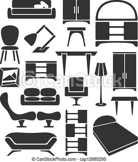Gráfico, conjunto, muebles.