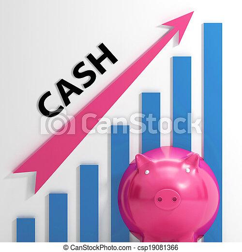 gráfico, efectivo, ahorros, ganancias, dinero, exposiciones - csp19081366
