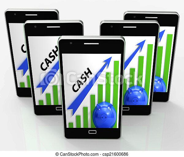 gráfico, efectivo, ahorros, ganancias, dinero, exposiciones - csp21600686