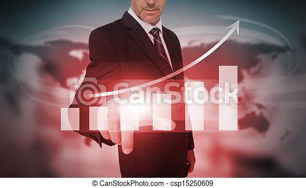 Hombre de negocios seleccionando la lista de barras rojas - csp15250609
