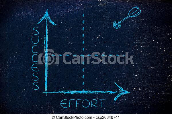 Effort y éxito gráfico con objetivo y dardo - csp26848741