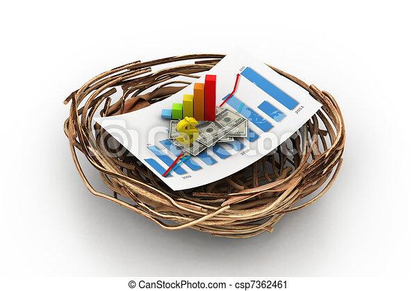 Grafico financiero en nido. - csp7362461