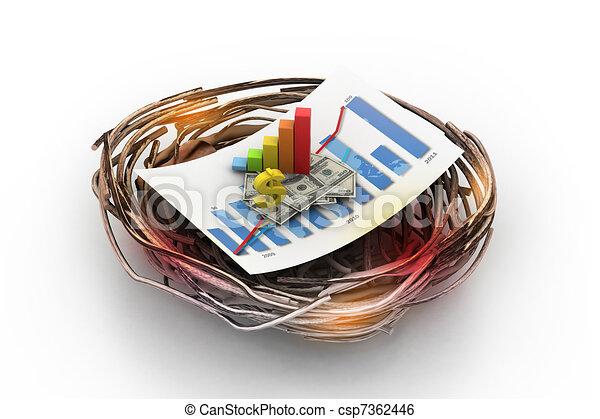 Grafico financiero en nido. - csp7362446