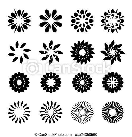 Un conjunto de flores geométricas negras, estrellas y elementos gráficos - csp24350560