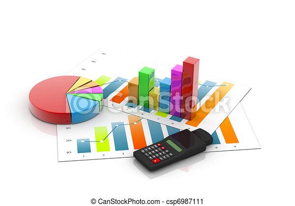 Grafico de negocios con gráfico - csp6987111