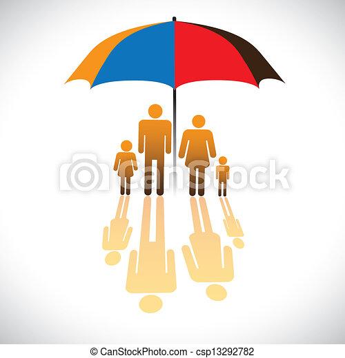 gráfico, guarda-chuva, seguro, família, ícones, &, pessoas, safeguard. - csp13292782
