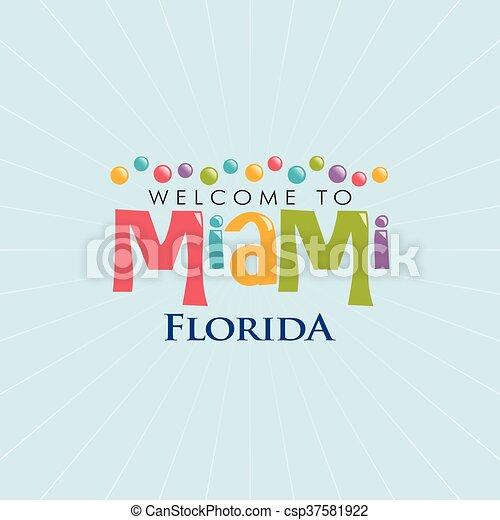 La ilustración de Miami Florida. Diseño gráfico Vector - csp37581922