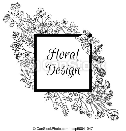 Gráfico, marco, mano, dibujado, adornado, flores, style. Vector, ser ...