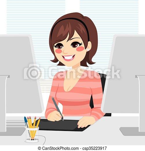 Mujer diseñadora gráfica - csp35223917