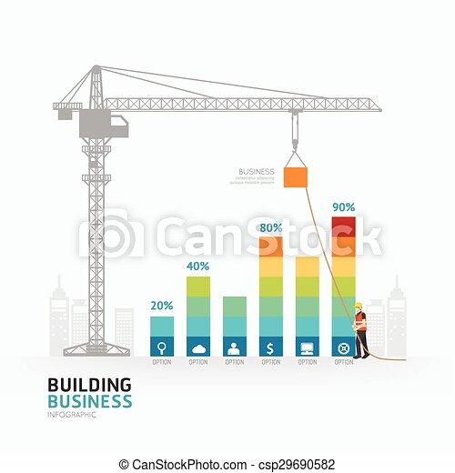 Diseño de gráficos de negocios infográficos. Construyendo al concepto de éxito ilustración vectorial gráfica o diseño web. - csp29690582