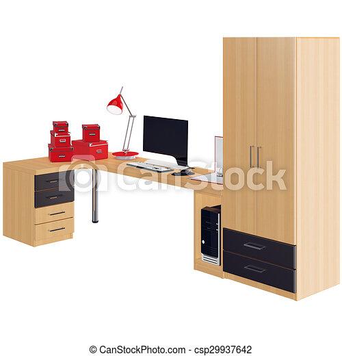Gráfico, oficina, algunos, colección, accessories.,... dibujo ...