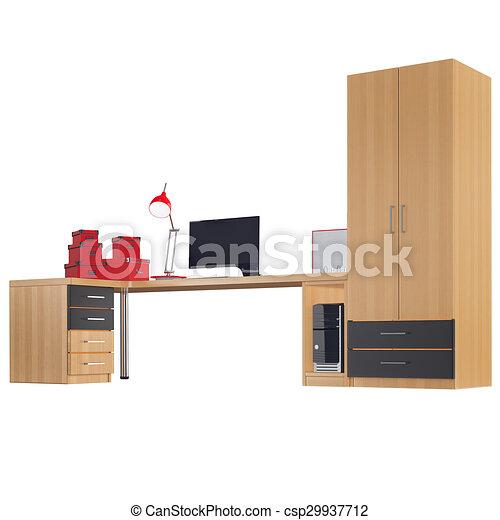 Gráfico, oficina, colección, general, vista., 3d, muebles. Gráfico ...